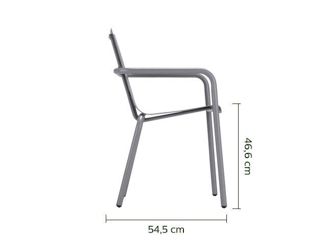 Chaise de jardin empilable en aluminium avec accoudoirs gris restanque-CENOZA