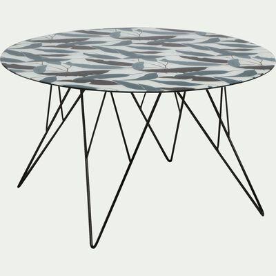 Table basse ronde en verre imprimé et piétement acier-ULIN