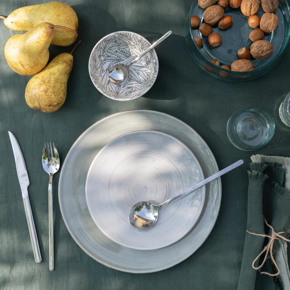 Nappe en lin et coton vert cèdre 170x250cm-CASTILLON