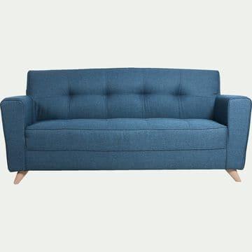 Canapé 3 places fixe en tissu bleu figuerolles-VICKY