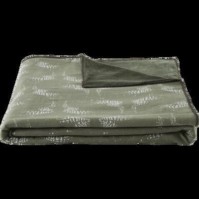 Plaid réversible velours et imprimé vert cèdre 130x150cm-ATOSIA