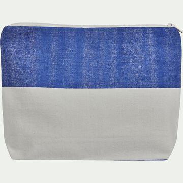Pochette bicolore en coton - bleu 23x30cm-ALBA