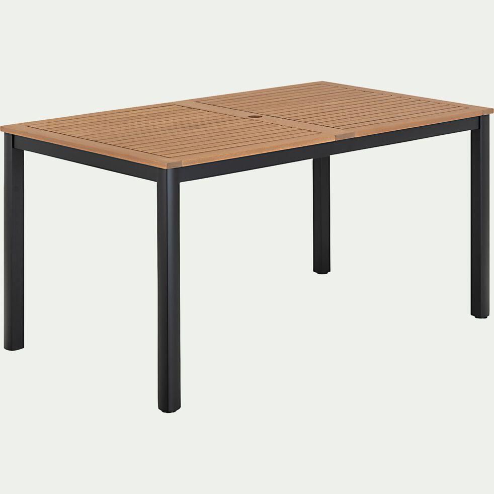 Table de jardin en eucalyptus et aluminium (4 à 6 places) - noir-DOLE
