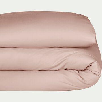Housse de couette en percale de coton - rose argile 260x240cm-FLORE