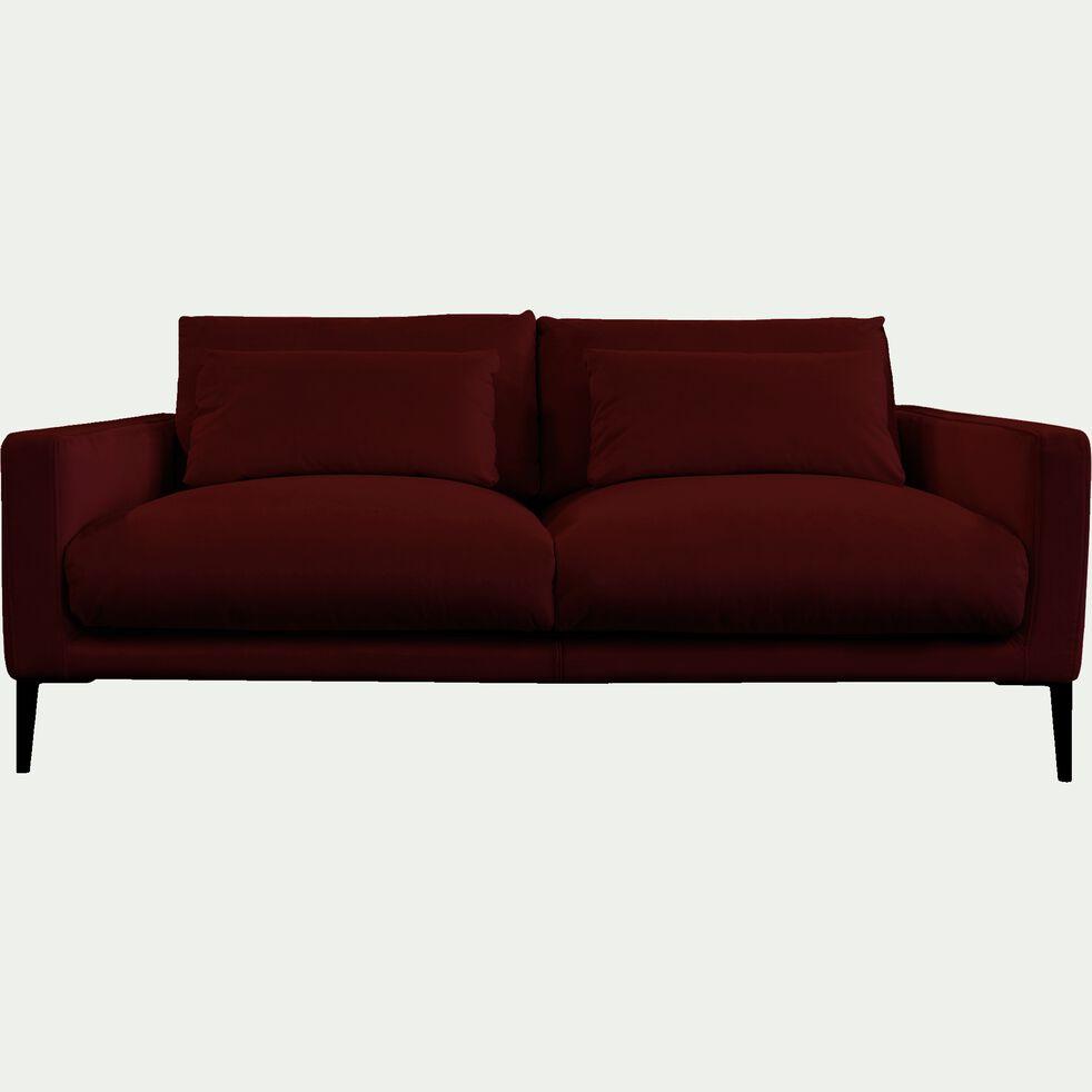 Canapé 3 places en velours - rouge sumac-SOZY