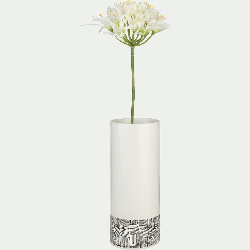Vase en grès motif Canisse - blanc et noir H23cm-Kos