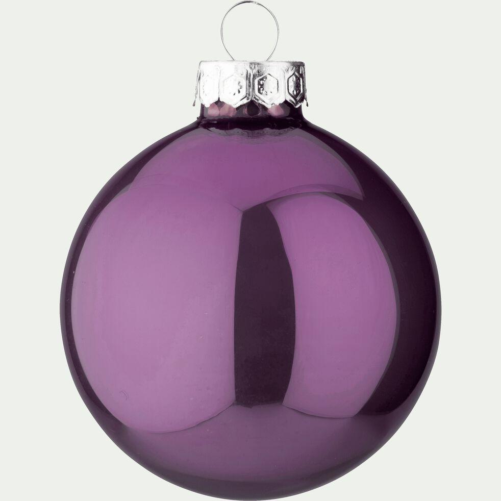 10 boules de Noël en verre violet D6cm-BOCCA