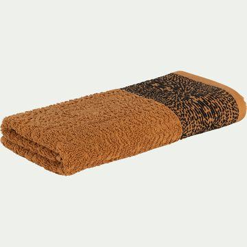 Serviette de bain bouclette et plat en coton - marron 50x100cm-NIL