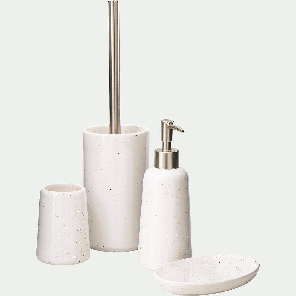 Porte brosse à dent en céramique mouchetée - blanc ventoux-NEOULES