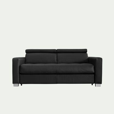 Canapé 2 places fixe en cuir avec accoudoir 15cm - noir-MAURO