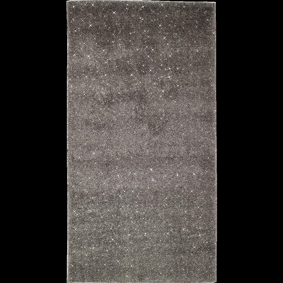 tapis brillant gris fonc 60x110cm monroe 60x110 cm descentes de lit alinea. Black Bedroom Furniture Sets. Home Design Ideas