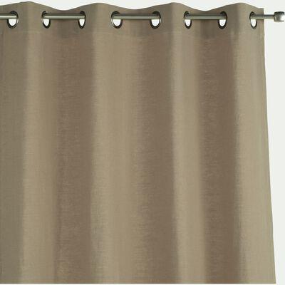 Rideau à œillets en ramie et coton - vert olivier 130x250cm-RAMY