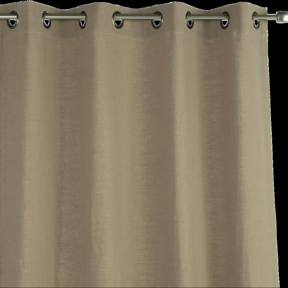 Rideau à oeillets en ramie vert olivier 130x250cm-RAMY
