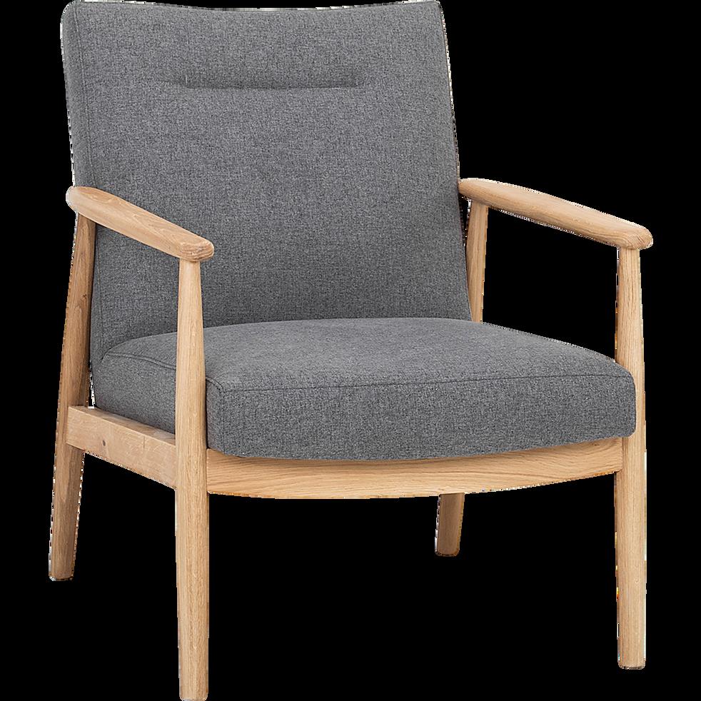 fauteuil en ch ne et tissu gris chin anton fauteuils et poufs alinea. Black Bedroom Furniture Sets. Home Design Ideas