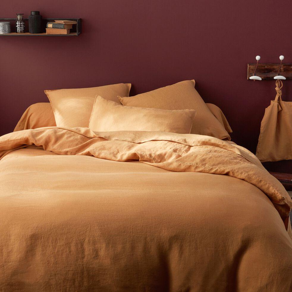 Linge de lit en lin beige nèfle-VENCE