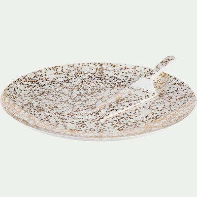 Plat à tarte et pelle en porcelaine blanche D31cm-GINKO