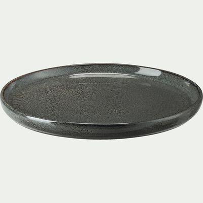 Assiette à dessert en grès émail réactif - vert olivier D21cm-PIETRA