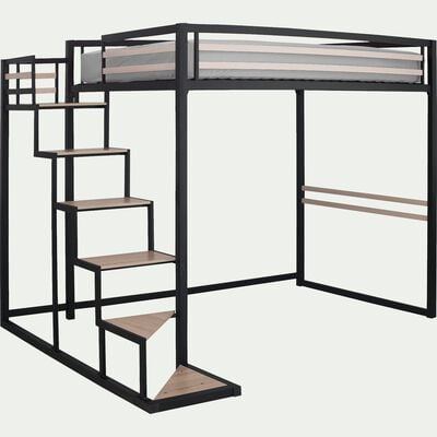 Lit mezzanine en acier Noir - 140x200 cm - épaisseur max 15cm-HOME