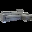 Canapé d'angle convertible réversible en tissu gris clair-Mauro