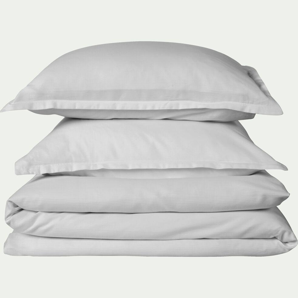 Lot de 2 taies d'oreiller rayées en satin de coton - gris borie 50x70cm-SANTIS