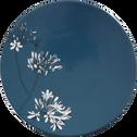 Assiette à dessert en porcelaine bleue figuerolles décorée D21,5cm-AGAPANTHE