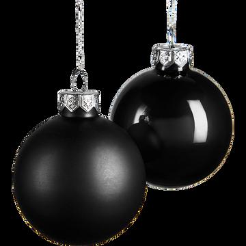 Lot de boule en verre noires 10 pièces D6cm-rizall