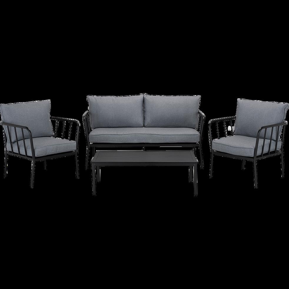 OLMETO - Salon de jardin en aluminium gris (4 places)