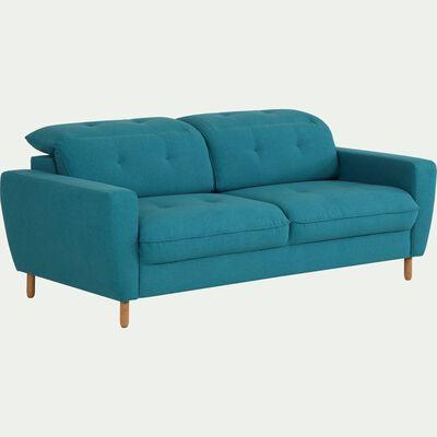 Canapé fixe 3 places en tissu avec têtière réglable - bleu-ODYS