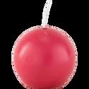 Bougie ronde rouge arbouse D6cm-HALBA