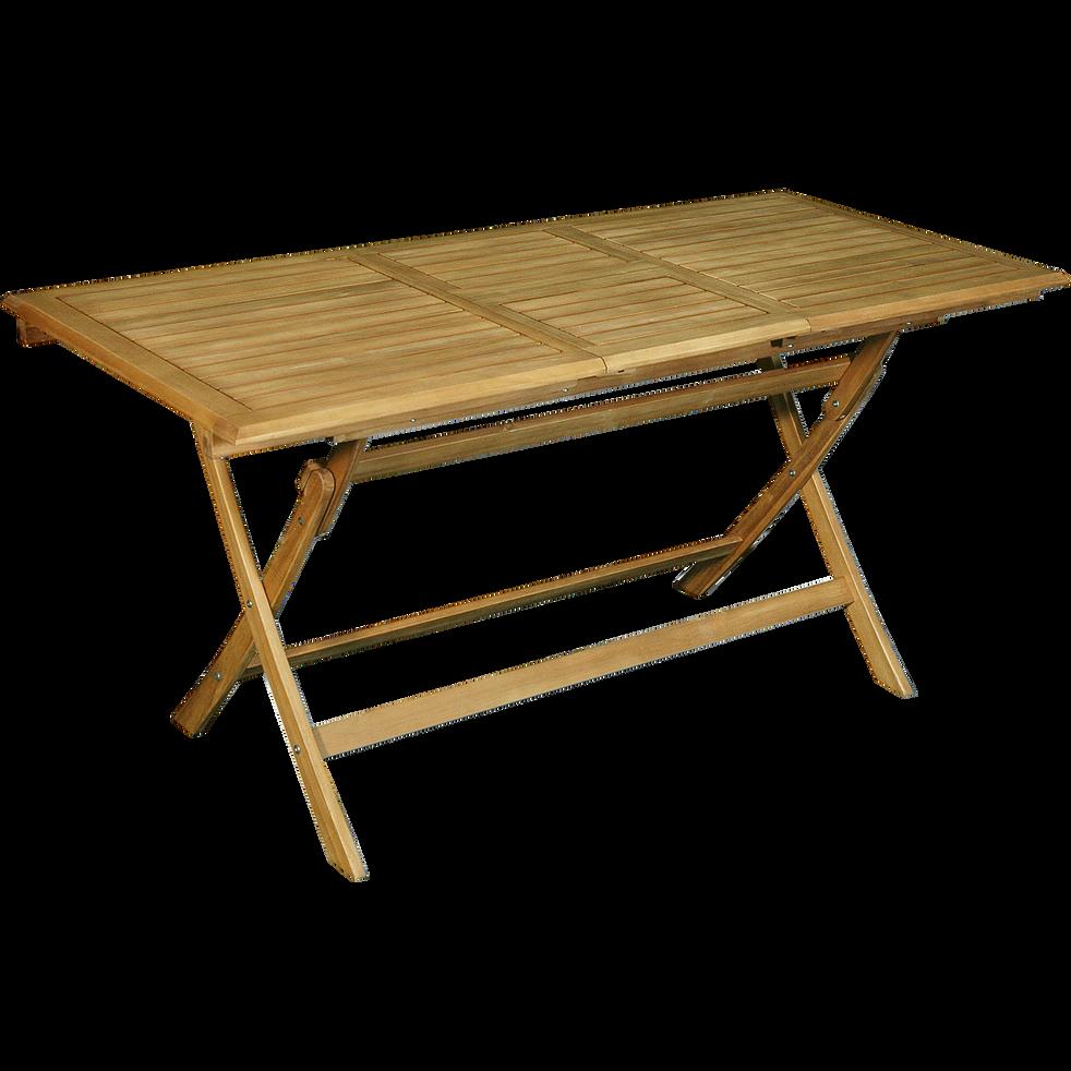 MILANA - Table de balcon extensible pliante en acacia (6 à 8 places)