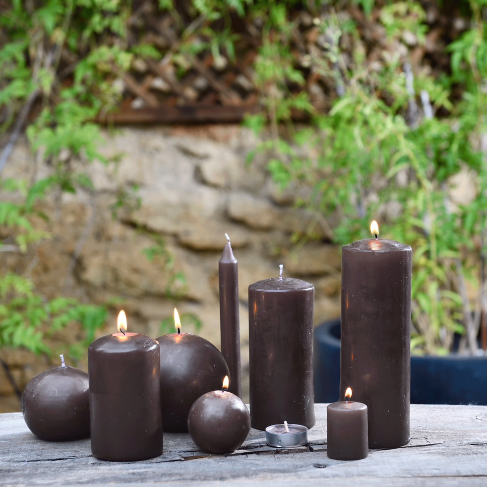 Bougie cylindrique brun ombre-HALBA