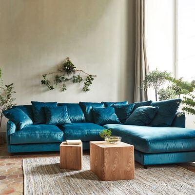Canapé d'angle droit fixe en velours - bleu figuerolles-LENITA
