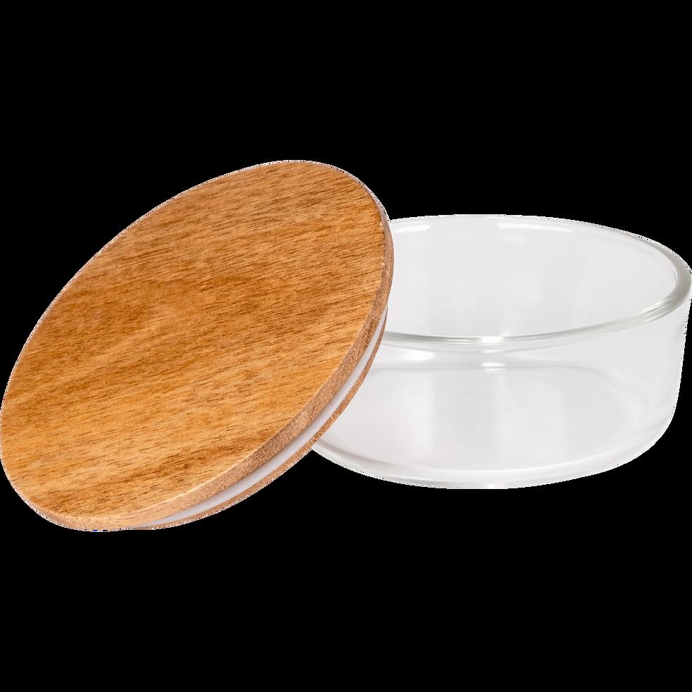 Boîte ronde en verre avec couvercle en bois D11,5cm-SAPAN