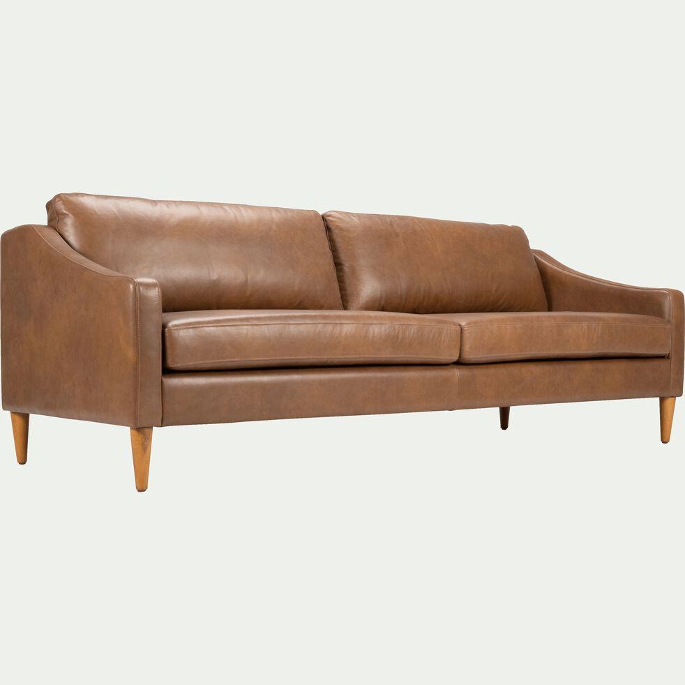 Canapé 3 places fixe en cuir - marron albe-BALLETI
