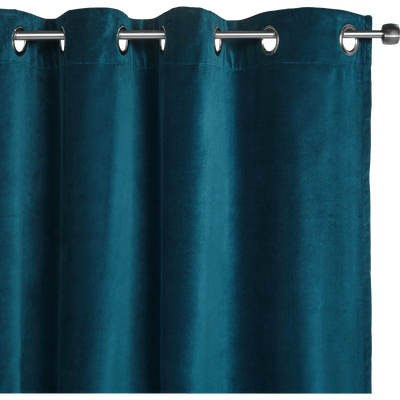 Rideau à oeillets en velours bleu figuerolles 140x250cm-EDEN