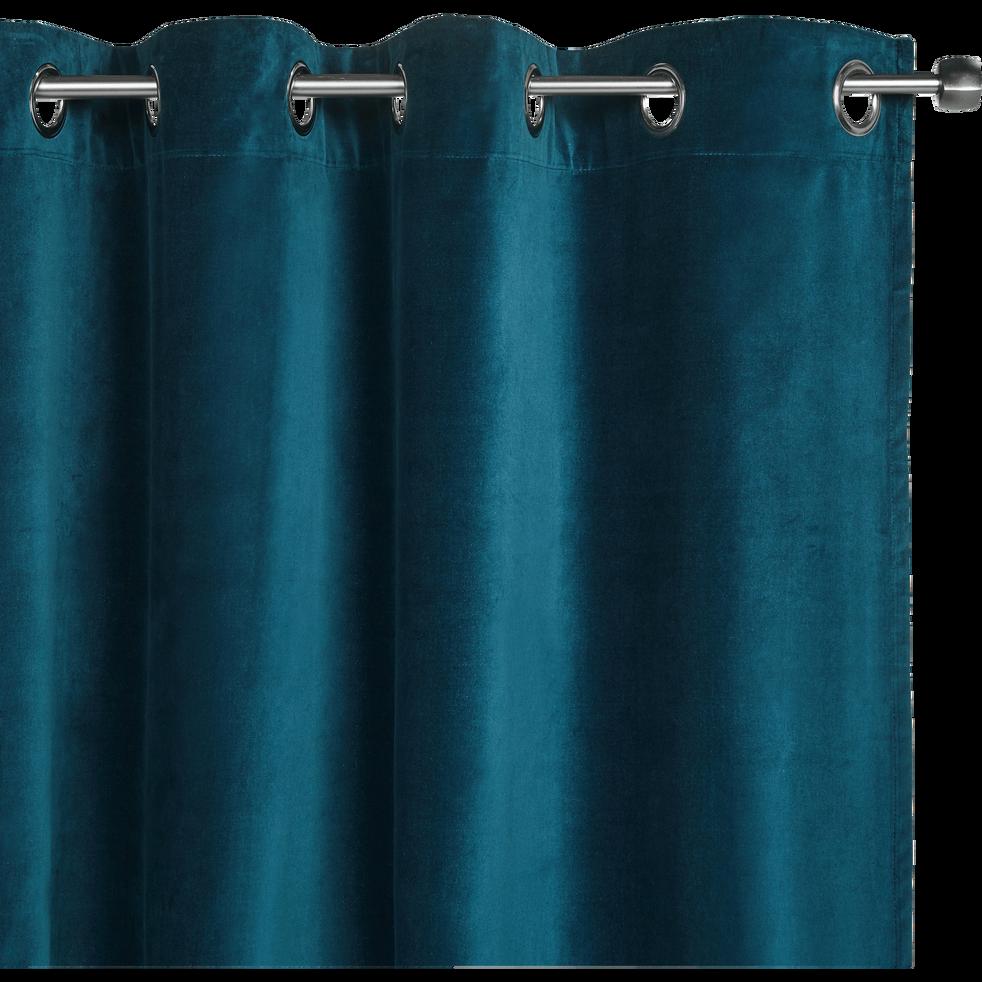 rideau oeillets en velours bleu figuerolles 140x250cm eden alinea. Black Bedroom Furniture Sets. Home Design Ideas
