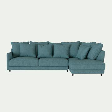 Canapé d'angle droit convertible en tissu joint - bleu niolon-LENITA