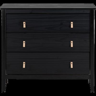 Commode 3 tiroirs avec structure et façade en pin massif noir-LISON