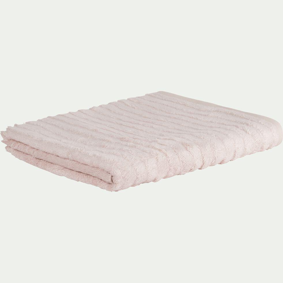 Drap de bain longues mèches en viscose et coton - rose grège 100x150cm-AUBIN