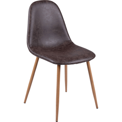 Chaise vintage en simili marron-CHARLIE