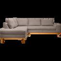 Canapé d'angle fixe gauche en tissu argile-PICABIA