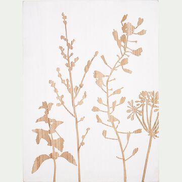 Gravure florale en bois essence d'épicéa - blanc 60x80cm-EDEN
