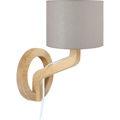 Applique en chêne et coton H29cm-Mokuzai