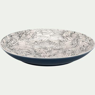 Assiette plate en porcelaine à motifs laurier - bleu D26cm-AIX