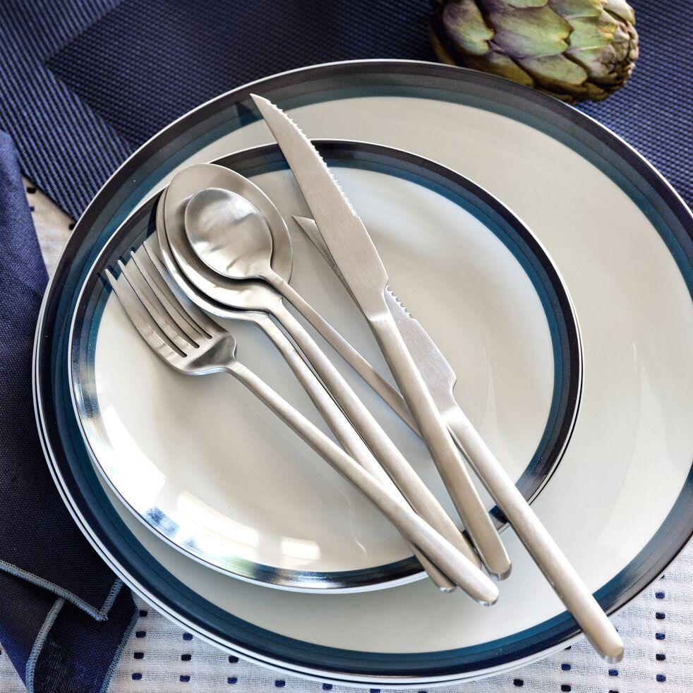Assiette à dessert en porcelaine motif dégradé bleu figuerolles D19m-VIC
