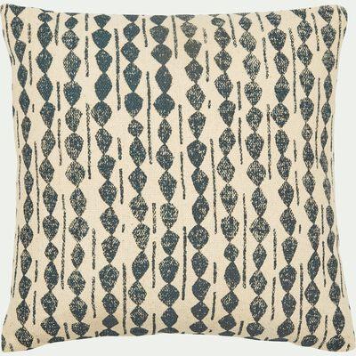Coussin ethnique en coton - bleu figuerolles 45x45cm-BARRAS