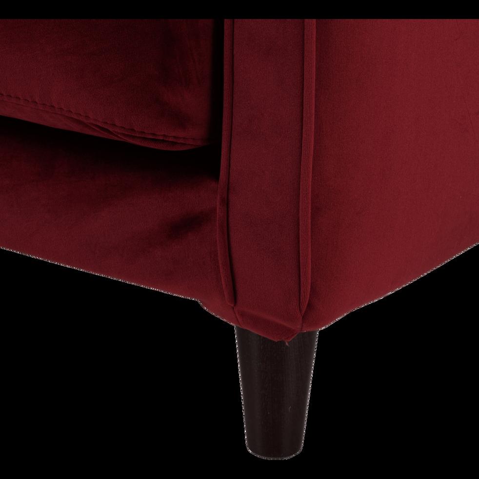 canap 2 places fixe en velours rouge sumac lenita. Black Bedroom Furniture Sets. Home Design Ideas
