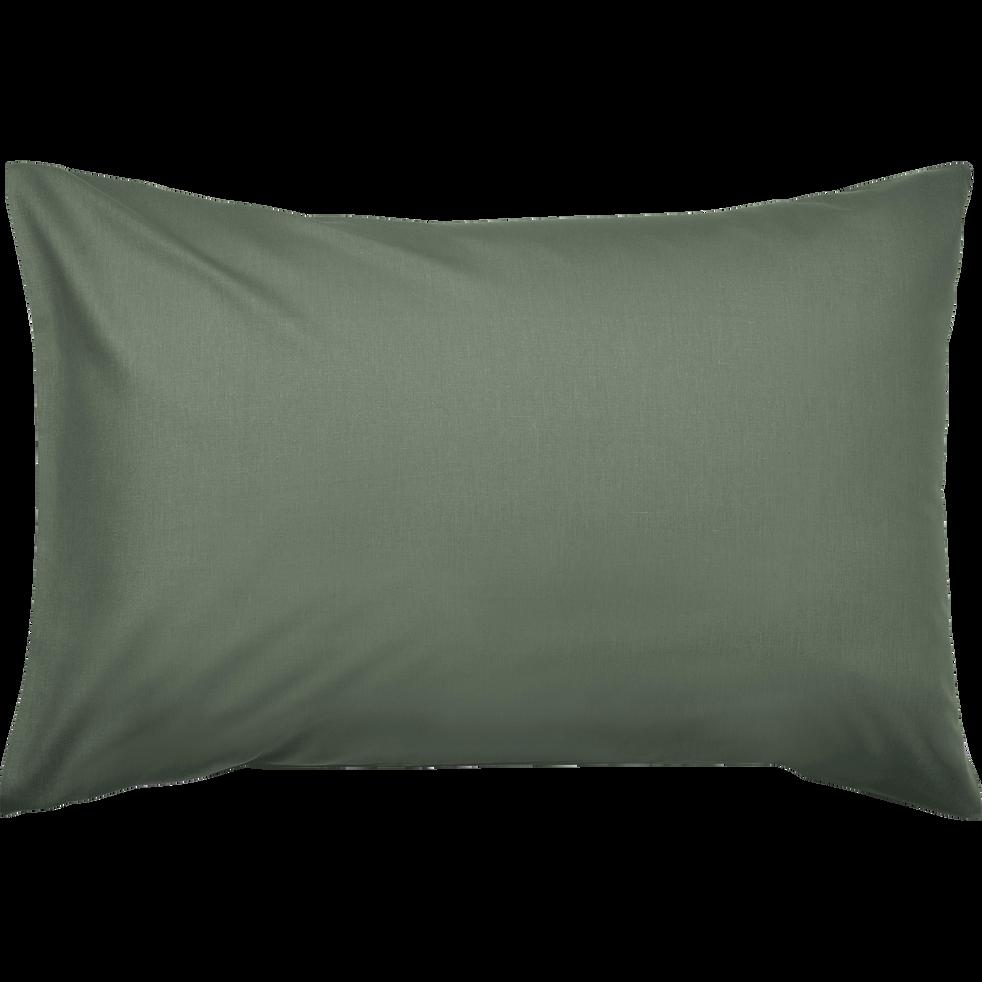 Lot de 2 taies d'oreiller en coton Vert cèdre 50x70cm-CALANQUES