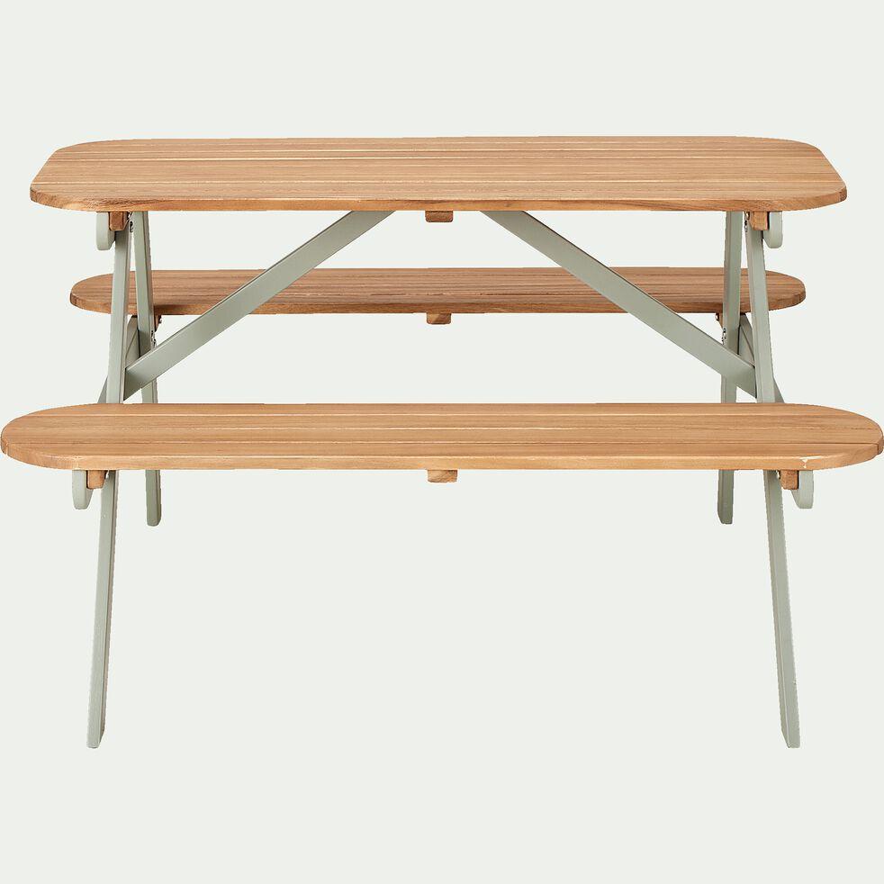 Table de pique-nique pour enfant en bois - vert olivier-Manja