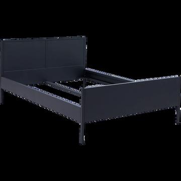 Lit 2 places avec tête de lit en métal Noir - 160x200 cm-ANVERS